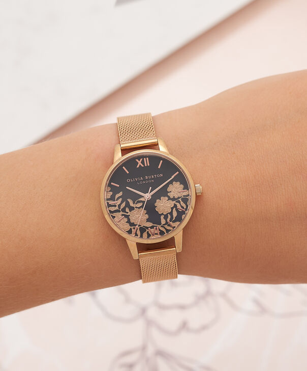OLIVIA BURTON LONDON Lace Detail Black Dial & Rose Gold Mesh Watch OB16MV57 – Midi Dial in Black and Rose Gold - Other view