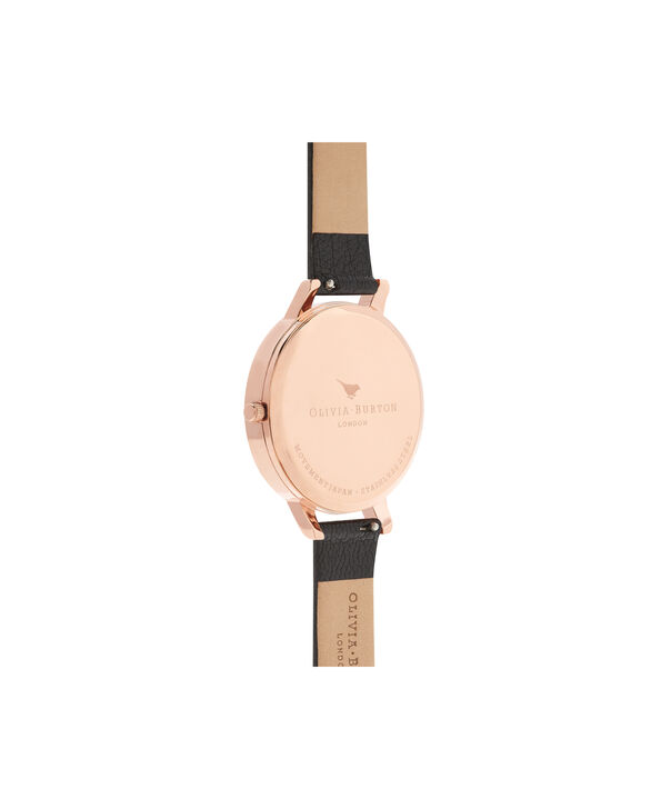 OLIVIA BURTON LONDON  Marble Floral Black & Rose Gold Watch OB16CS01 – Big Dial Round in Floral and Black - Back view