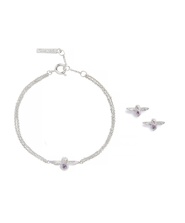OLIVIA BURTON LONDON Bejewelled Bee Bracelet and Earrings Gift Set Sterling Silver & AmethystOBJGSET01 – Gift Set in Silver - Front view