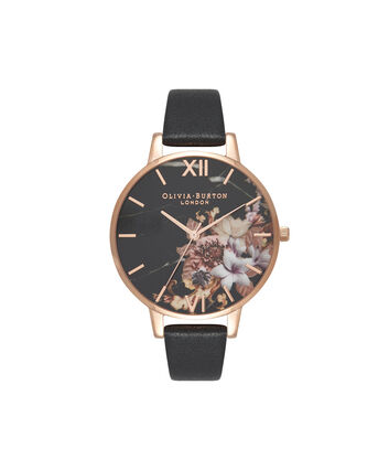 OLIVIA BURTON LONDON  Marble Floral Black & Rose Gold Watch OB16CS01 – Big Dial Round in Floral and Black - Front view