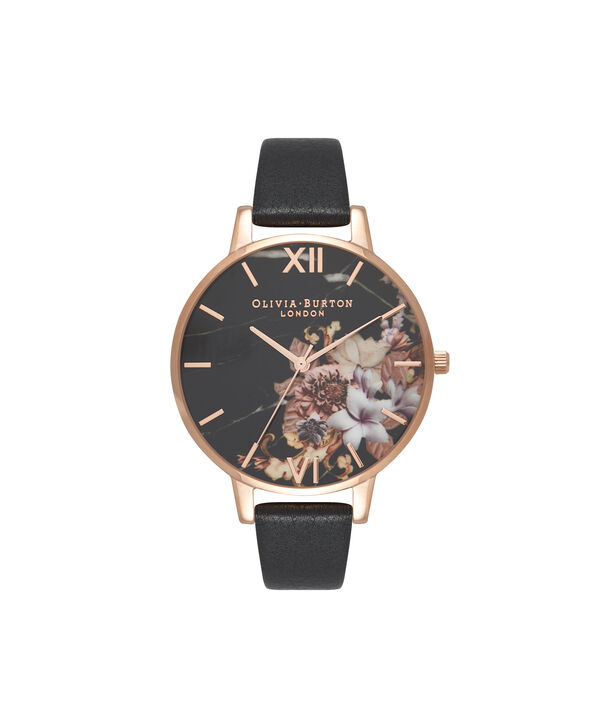 Ladies Marble Floral Black & Rose Gold Watch | Olivia Burton London