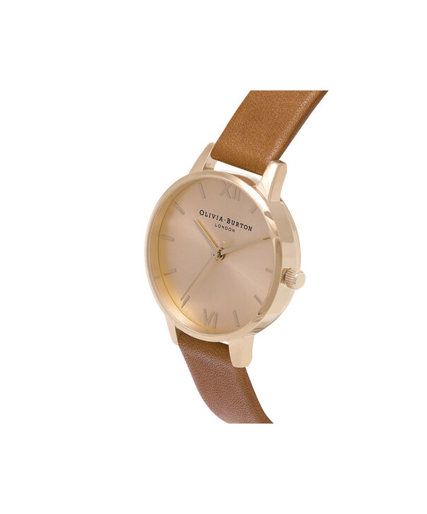 OLIVIA BURTON LONDON  Midi Dial Tan And Gold Watch OB14MD22 – Midi Dial Round in Gold and Tan - Side view