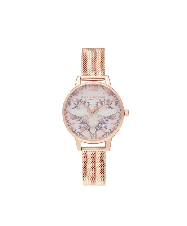 OLIVIA BURTON LONDON Meant to Bee Blush, Silver & Rose Gold MeshOB16AM166 – Demi Dial In Rose Gold And Rose Gold - Front view