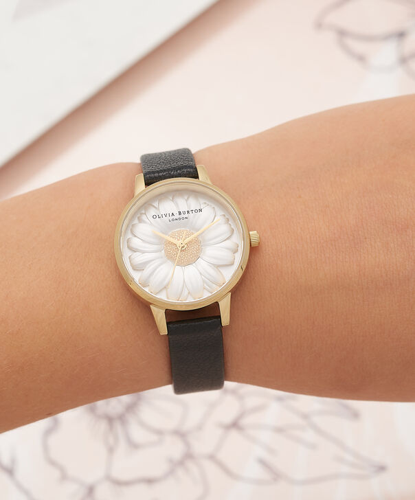 OLIVIA BURTON LONDON  3D Daisy Black & Gold Watch OB15EG38 – Midi Dial Round in White and Black - Other view