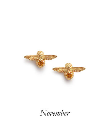 OLIVIA BURTON LONDON Celebration Bee Studs Gold & CitrineOBJAME105 – Celebration Bee Studs Gold & Citrine - Front view