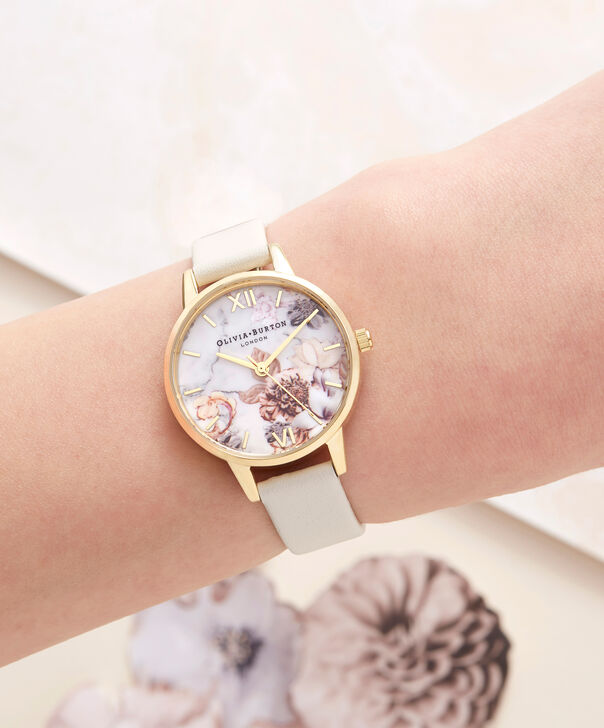 OLIVIA BURTON LONDON  Marble Florals Nude & Gold OB16CS15 – Big Dial Round in Nude and Gold - Other view
