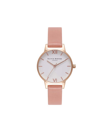 OLIVIA BURTON LONDON  White Dial Rose & Rose Gold Watch OB16MDW03 – Midi Dial Round in White and Rose - Front view