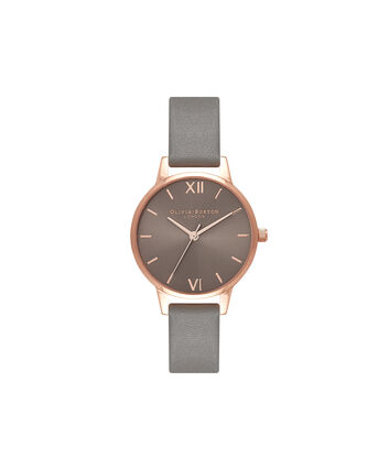 OLIVIA BURTON LONDON Midi Dial Grey And Rose Gold WatchOB16MD78 – Midi Dial Round in Grey - Front view