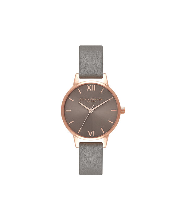 OLIVIA BURTON LONDON  Big Dial Grey And Rose Gold Watch OB16MD78 – Midi Dial Round in Grey - Front view