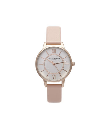 OLIVIA BURTON LONDON  Wonderland Dusty Pink And Rose Gold Watch OB15WD28 – Midi Dial Round in Silver and Pink - Front view
