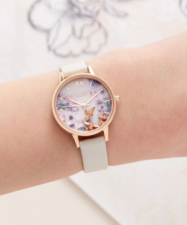 OLIVIA BURTON LONDON  Busy Bees Nude & Rose Gold Watch OB16CH13 – Midi Dial Round in White and Nude - Other view