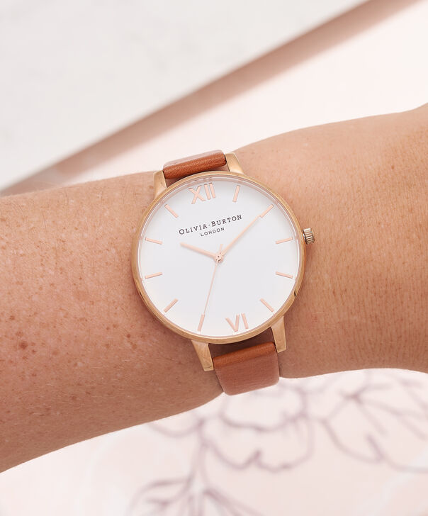 OLIVIA BURTON LONDON  White Dial Tan & Rose Gold Watch OB16BDW19 – Big Dial Round in White and Tan - Other view
