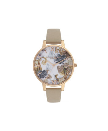 OLIVIA BURTON LONDON Marble Florals Big Dial WatchOB16CS17 – Big Dial in Brown and Rose Gold - Front view