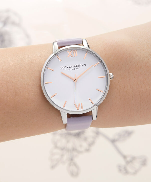 OLIVIA BURTON LONDON  White Dial Parma Violet, Rose Gold & Silver OB16BDW37 – Big Dial Round in Silver , Rose Gold and Parma Violet - Other view