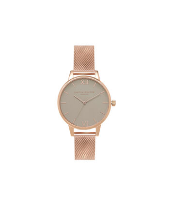 OLIVIA BURTON LONDON  White Dial Rose Gold Mesh Watch OB15MD62 – Midi Dial in Grey and Rose Gold - Front view