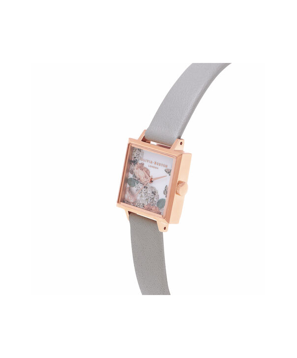 OLIVIA BURTON LONDON  Midi Signature Floral Rose Gold and Grey Watch OB16WG41 – Midi Dial in Floral and Rose Gold - Side view