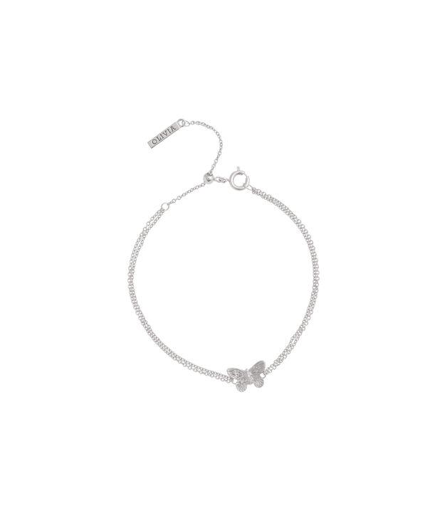 OLIVIA BURTON LONDON  3D Butterfly Chain Bracelet Silver OBJ16MBB03 – 3D Butterfly Chain Bracelet - Front view