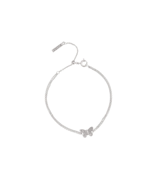 OLIVIA BURTON LONDON  3D Butterfly Chain Bracelet Silver OBJ16MBB03 – 3D Butterfly Chain Bracelet - Front view