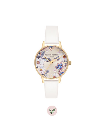 OLIVIA BURTON LONDON Bejewelled Florals Vegan Nude & GoldOB16BF14 – Midi Dial Round in Gold and Nude - Front view