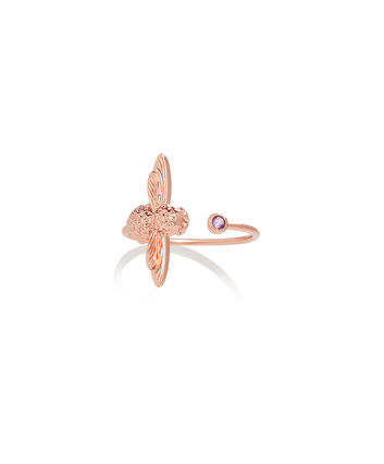 OLIVIA BURTON LONDON Bejewelled Bee Ring Rose Gold & AmethystOBJAMR25 – Ring in Rose Gold - Front view