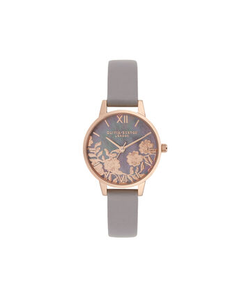 OLIVIA BURTON LONDON Lace Detail Midi Dial WatchOB16MV92 – Midi Dial in grey and Rose Gold - Front view
