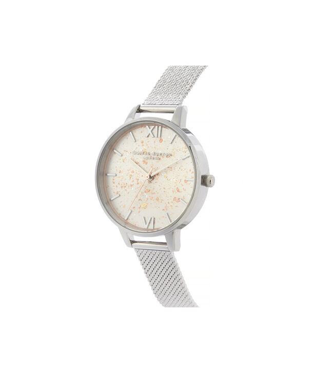 OLIVIA BURTON LONDON Celestial Demi Dial Watch with Boucle MeshOB16GD14 – Demi Dial in silver and Silver & Rose Gold - Side view