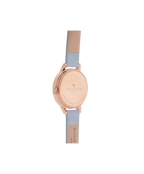 OLIVIA BURTON LONDON  Chalk Blue & Rose Gold Watch OB16TD17 – Midi Dial Round in White and Blue - Back view
