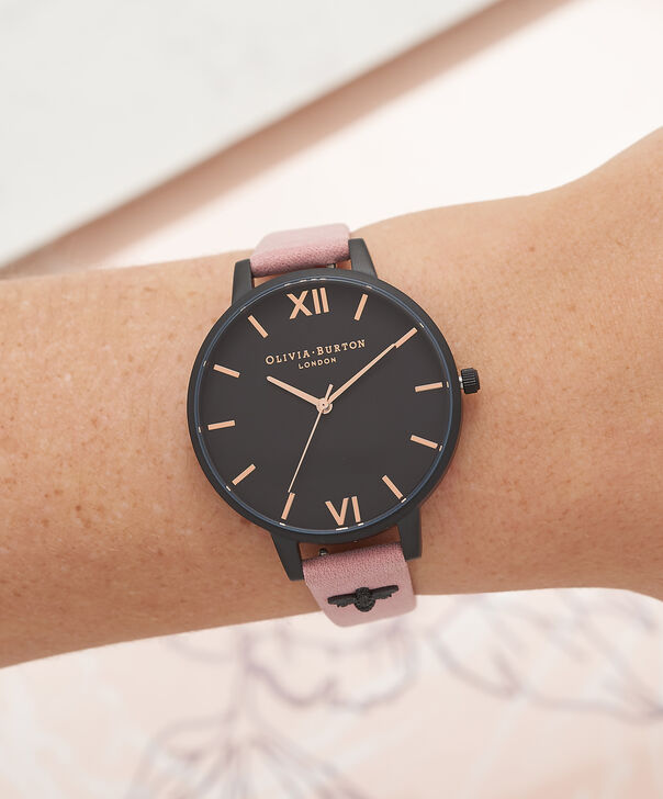 OLIVIA BURTON LONDON  3D Bee Embellished Strap Rose Suede & Ip Black Watch OB16ES09 – Big Dial Round in Black and Rose - Other view