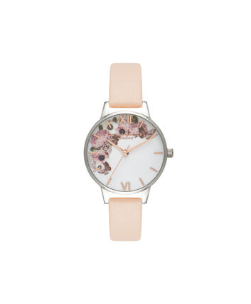 OLIVIA BURTON LONDON  Midi Signature Floral Nude Peach, Silver & Rose Gold Watch OB16EG75 – Midi Dial in White Floral and Peach - Front view