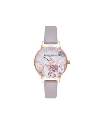 OLIVIA BURTON LONDON  Marble Floral Grey Lilac & Rose Gold Watch  OB16CS14 – Midi Dial Round in Floral Sand and Rose Gold - Front view