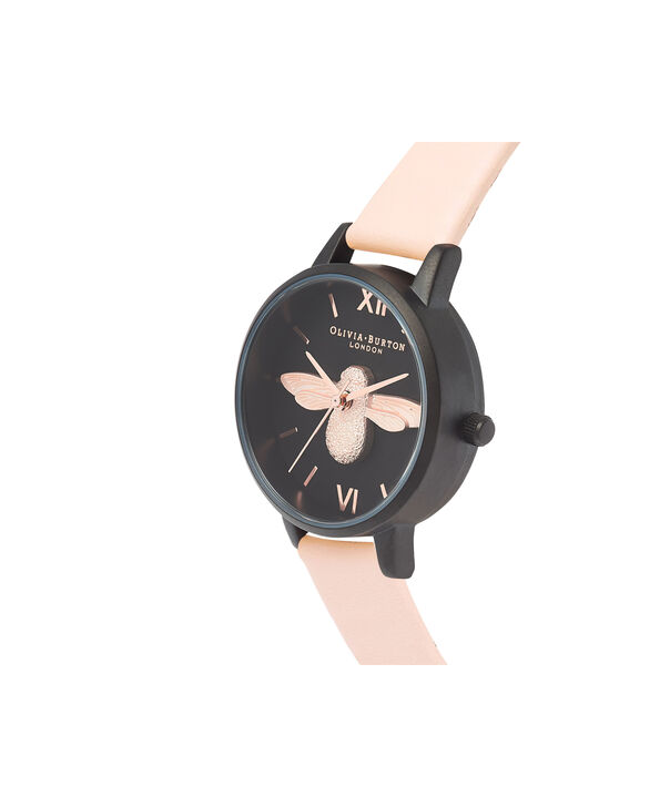 OLIVIA BURTON LONDON  After Dark 3D Bee Nude Peach & Matte Black OB16AD40 – Midi Dial Round in IP Black , Rose Gold and Nude - Side view