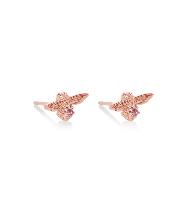 OLIVIA BURTON LONDON Celebration Bee Studs Rose Gold & AmethystOBJAME123 – Earrings in Rose Gold - Side view