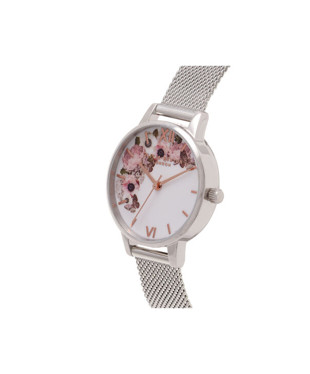 OLIVIA BURTON LONDON  Signature Floral Silver Mesh Watch OB16WG30 – Midi Dial Round in White and Silver - Side view