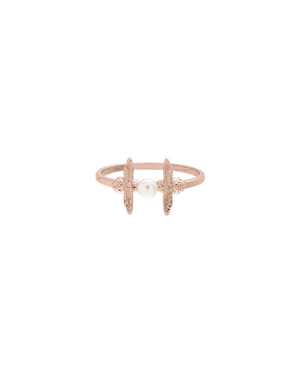 OLIVIA BURTON LONDON  Pearl Bee Ring Rose Gold LOBJ16AMR12L – Pearl Bee Ring - Front view