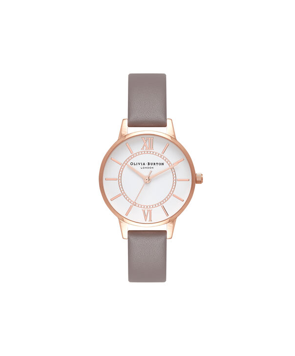 OLIVIA BURTON LONDON  Wonderland London Grey & Rose Gold Watch OB16WD63 – Midi Dial Round in Silver and Grey - Front view