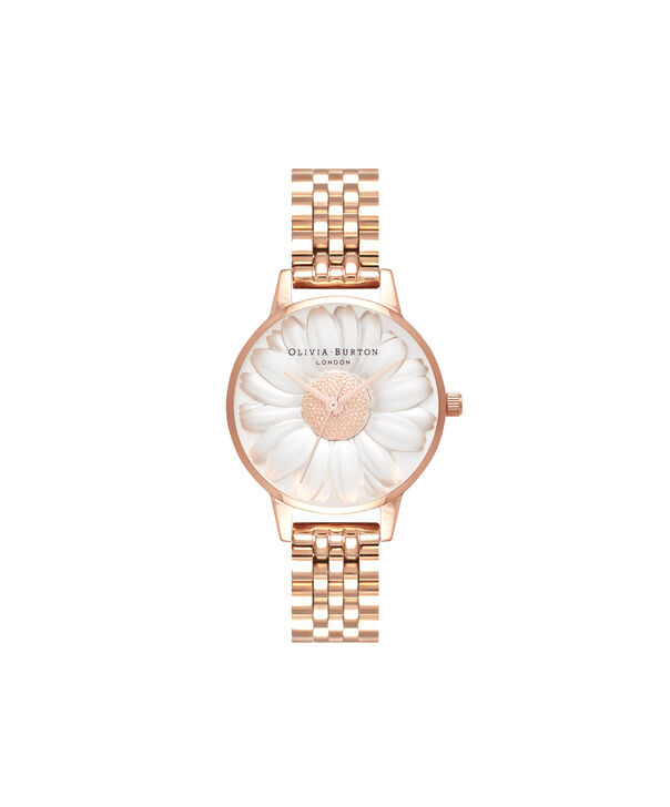 OLIVIA BURTON LONDON  3D Daisy Rose Gold Bracelet OB16FS102 – Midi Dial Round in Rose Gold - Front view