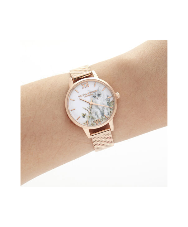 OLIVIA BURTON LONDON Illustrated Animals Cat Midi Rose Gold MeshOB16WL76 – Demi Dial In Rose Gold And Rose Gold - Other view