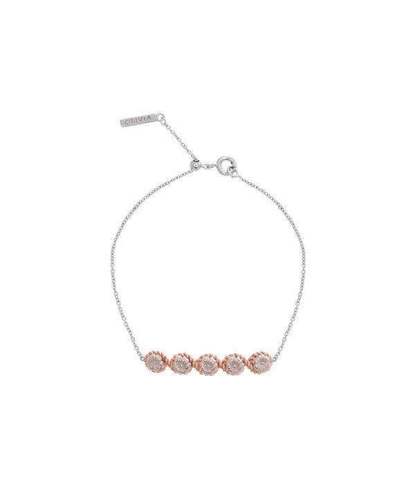 OLIVIA BURTON LONDON Flower Show Rope Chain Bracelet Silver & Rose Gold OBJ16FSB14 – Floral Charm Chain Bracelet - Front view