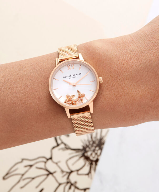 OLIVIA BURTON LONDON  Busy Bees Rose Gold Mesh Watch OB16CH01 – Midi Dial Round in White and Rose Gold - Other view