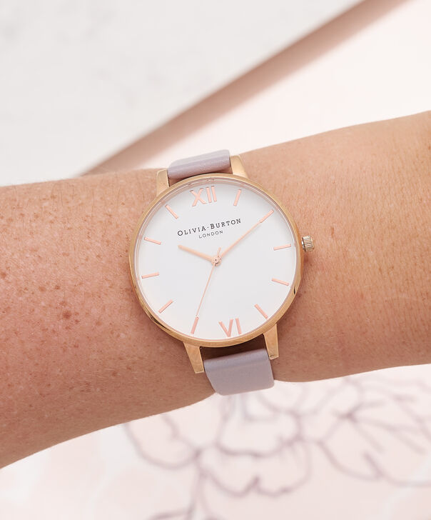 OLIVIA BURTON LONDON  White Dial Grey Lilac & Rose Gold Watch OB16BDW16 – Big Dial in White and Grey Lilac - Other view