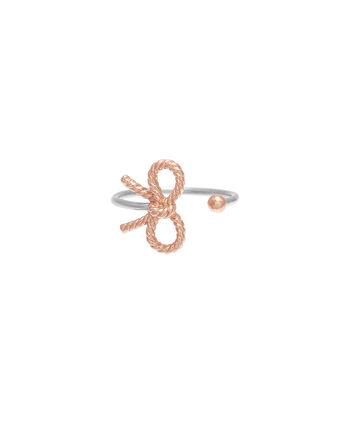 OLIVIA BURTON LONDON  Vintage Bow Ring Silver & Rose Gold OBJ16VBR05 – Vintage Bow Ring - Front view