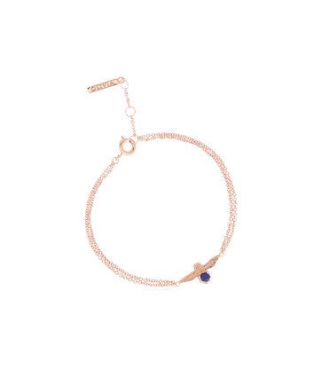 OLIVIA BURTON LONDON  3D Bee Bejewelled Chain Bracelet Rose Gold with Lapis Lazuli Gemstone OBJ16AMB27 – 3D Bee Bejewelled Chain Bracelet - Front view