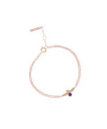 OLIVIA BURTON LONDON  3D Bee Bejewelled Chain Bracelet Rose Gold with Lapis Lazuli Gemstone OBJ16AMB27 – 3D Bee Bejewelled Chain Bracelet - Front view