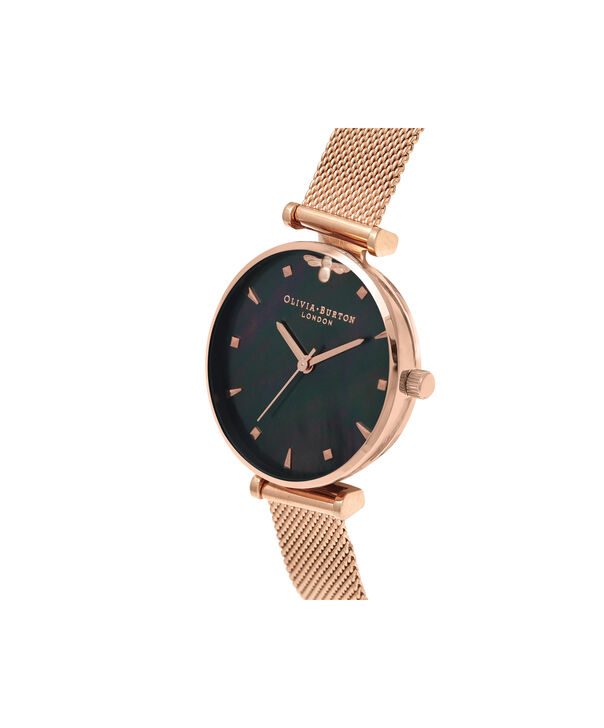 OLIVIA BURTON LONDON  Queen Bee Black Mother of Pearl Rose Gold Mesh OB16AM145 – Midi Dial Round in Rose Gold - Side view