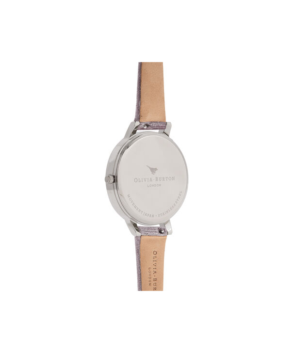 OLIVIA BURTON LONDON Exclusive Big Dial Grey Lilac Velvet & Silver Sunray OB16BD109 – Big Dial Round in Silver and Grey Lilac - Back view