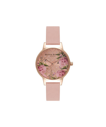 OLIVIA BURTON LONDON  Dot Design Floral Dusty Pink & Rose Gold Watch OB15EG43 – Midi Dial Round in Floral and Pink - Front view