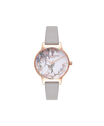 OLIVIA BURTON LONDON  Painterly Prints Grey & Rose Gold Watch OB16PP22 – Midi Dial in White Floral and Grey - Front view