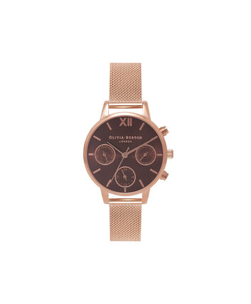 OLIVIA BURTON LONDON  Chrono Detail Rose Gold Watch OB16CGM65 – Midi Dial in Chocolate and Rose Gold - Front view