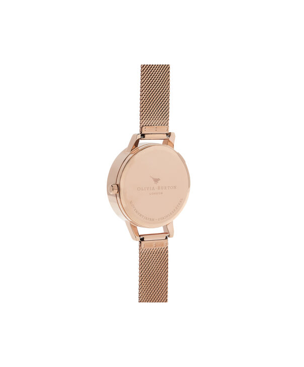 OLIVIA BURTON LONDON  Watercolour Florals Rose Gold Mesh OB16PP40 – Midi Dial Round in Rose Gold - Back view