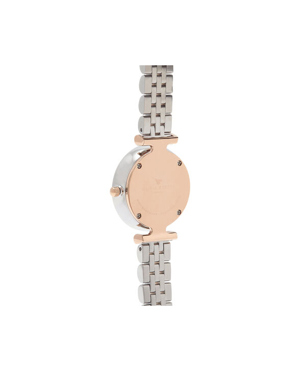 OLIVIA BURTON LONDON  T-Bar Bracelet Silver & Rose Gold Watch OB16AM93 – Midi in White and Silver and Rose Gold - Back view